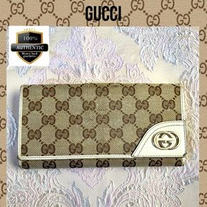 Gucci wallet long canvas brown GG LEATHER